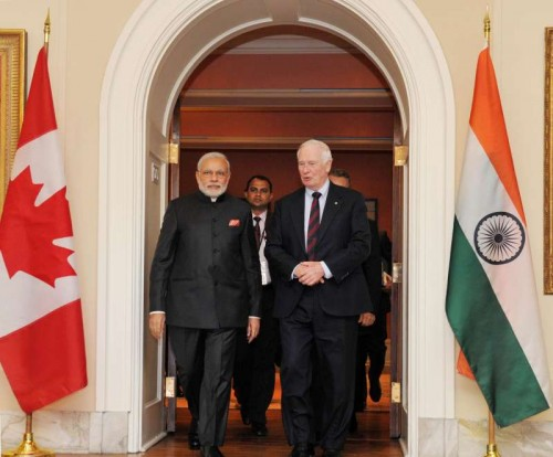 Prime Minister Narendra Modi meets the Governor General of Canada, the Right Honourable David Johnston, at Ottawa, Canada on April 15, 2015.