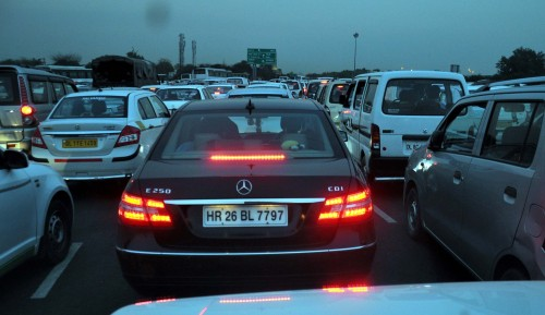 A view of a traffic jam on a day of transport strike  on National Highway-8 in Gurgaon,.