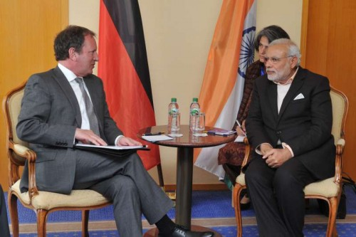 The Prime Minister, Shri Narendra Modi meeting the President and CEO, Bombardier Transportation GmbH, Dr. Lutz Bertling, in Hannover, Germany on April 12, 2015.