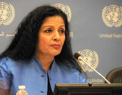 """UN Assistant Secretary-General Laxmi Puri, who is also the Deputy Executive Director of UN Women, releases the report, """"Progress of the World's Women, 2015-2016: Transforming Economies, Realising Rights,"""" at the UN headquarters in New York recently."""