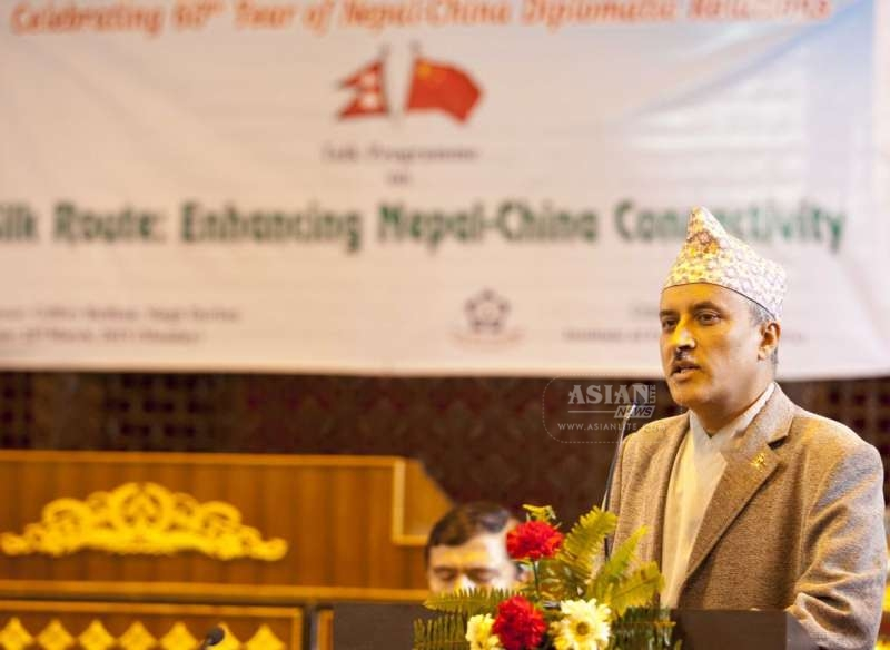 Chief Secretary of the Nepalese Government Lila Mani Poudel delivers a speech at a talk program on Silk Route: Enhancing Nepal-China Connectivity on the occasion of the 60th anniversary of the establishment of the Nepal-China diplomatic relations, in Kathmandu recently