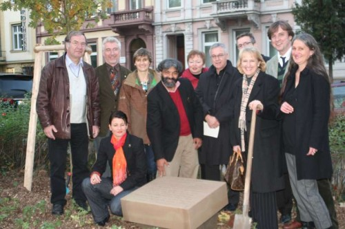 Indian-origin poet of German language Rajvinder Singh (centre), whose poems are displayed at four public places in Trier, the oldest German city where Karl Marx was born and brought up