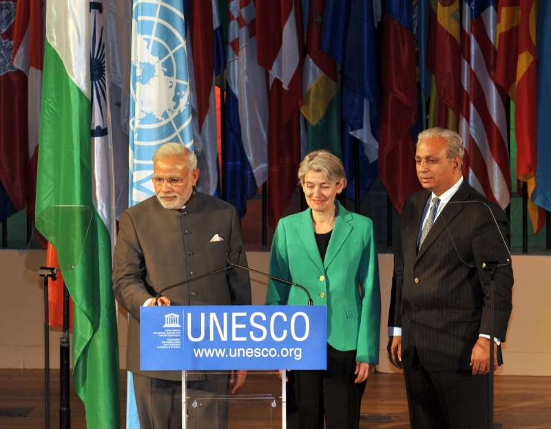 Prime Minister Narendra Modi during the launch of a website on Yoga, at UNESCO, in Paris. Also seen the Director-General of UNESCO Irina Bokova