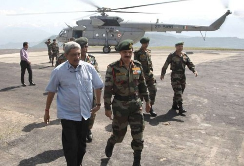 Union Minister for Defence Manohar Parrikar accompanied by the Chief of Army Staff, General Dalbir Singh on forward area visit, in Rajouri sector on May 23, 2015.