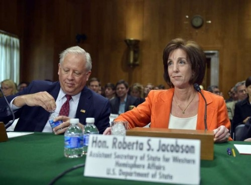 S. Assistant Secretary of State for Western Hemisphere Affairs Roberta Jacobson (R) arrives for a hearing on U.S.-Cuba relations before the Senate Foreign Relations Committee on Capitol Hill in Washington D.C., capital of the United States, May 20, 2015.