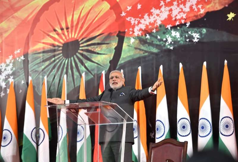 Prime Minister Narendra Modi addresses at the Indian Community Reception, in Shanghai, China