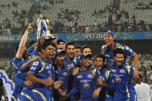 Mumbai Indians celebrate their victory in IPL 2015 at the Eden Gardens in Kolkata on May 24, 2015.