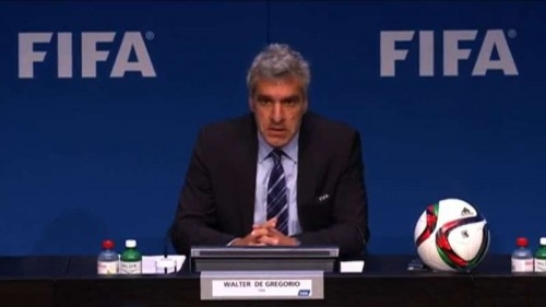 FIFA spokesman Walter De Gregorio addresses a press conference