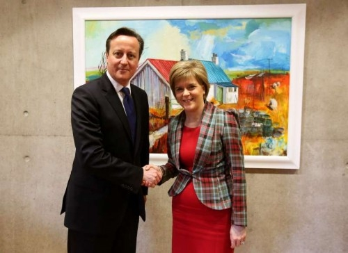 Prime Minister David Cameron with Scottish First Minister Nicola Sturgeon - File