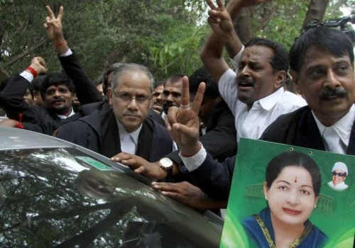 ormer Tamil Nadu chief minister J. Jayalalithaa`s lawyer B Kumar outside the Karnataka High Court after the court acquitted her in the Rs.66.65-crore disproportionate assets' case, in Bengaluru on May 11, 2015.