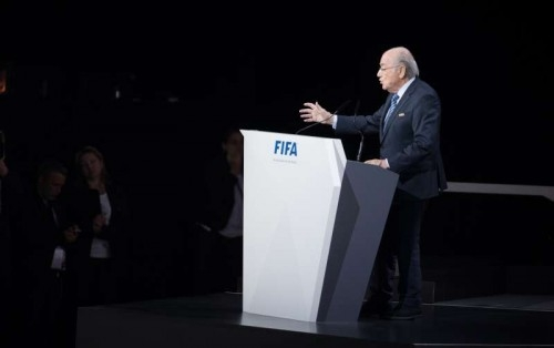 FIFA President Sepp Blatter delivers a speech before the election process at the 65th FIFA Congress in Zurich, Switzerland, May 29, 2015.