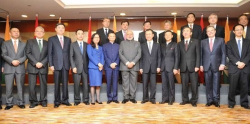 rime Minister Narendra Modi meets Chinese CEOs, in Shanghai, China on May 16, 2015.