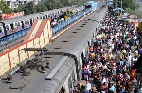 A crowded platform of Bidhannagar Station - a Kolkata Suburban Railway Junction Station in Kolkata