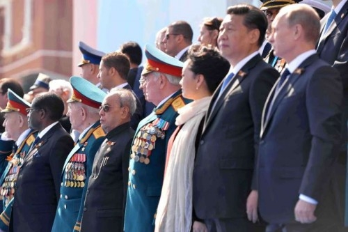President Pranab Mukherjee during the Victory Day Parade, at Moscow, in Russia on May 9, 2015. Also seen Zimbabwe President Robert Mugabe, China President Xi Jinping, President of the Russian Federation Vladimir Putin.