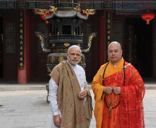 ndian Prime Minister Narendra Modi visits the Daxingshan Temple in Xi'an, capital of northwest China's Shaanxi Province, May 14, 2015.