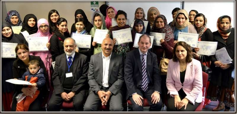 INTEGRATION CEREMONY: QED's Integration Yorkshire awards ceremony hosted at QED's offices in Bradford with the then Parliamentary Under Secretary of State for Communities (Stephen Williams), sitting between Dr Mohammed Ali OBE (CEO of QED) and Adeeba (Deputy CEO).