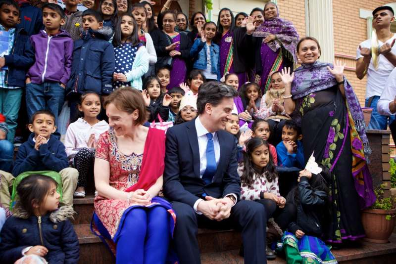 Ed Miliband and wife Justine Miliband at Swaminarayan temple in London