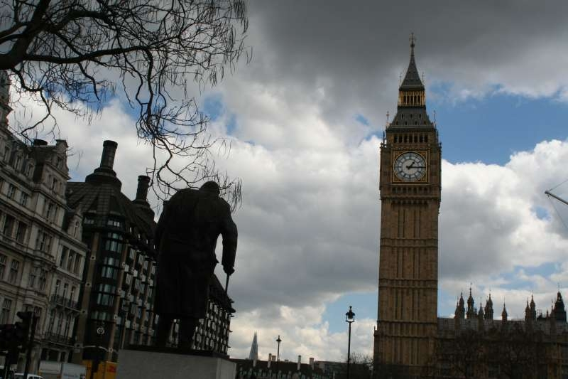 The statue of former prime minister Winston Churchill overlooks the Parliament House