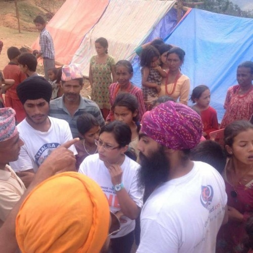 Khalsa Aid volunteers at  a camp in Nepal