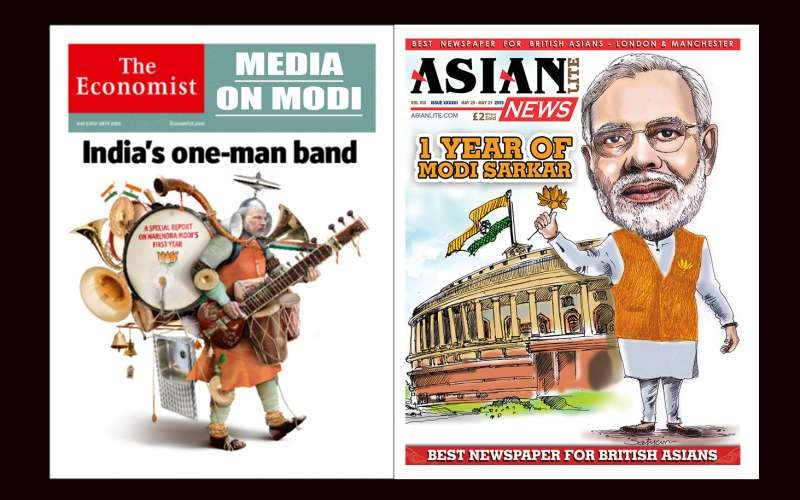 The Economist and Asian Lite cover on Modi's one year