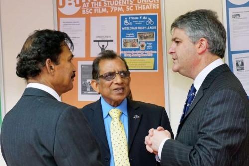 Philip Davies, MP Shipley with Prof Romesh Gupta Centre   and Prof Kailash Mohanti Centre