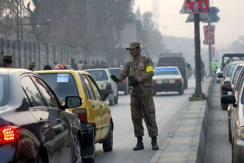A policeman on guard in Pakistan
