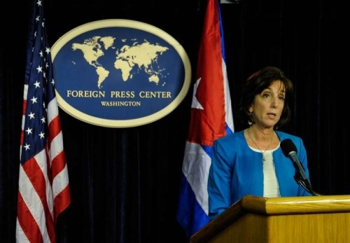U.S. Assistant Secretary for Western Hemisphere Roberta Jacobson speaks during the press conference after the latest round of talks between Washington and Havana at Department of State in Washington D.C., capital of the United States, May 22, 2015. The United States and Cuba concluded their two-day talks here on Friday without a deal on reopening embassies, but agreed to meet more in the coming weeks