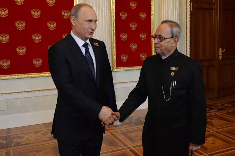 Indian President Pranab Mukherjee with Russian President Vladimir Putin in Moscow