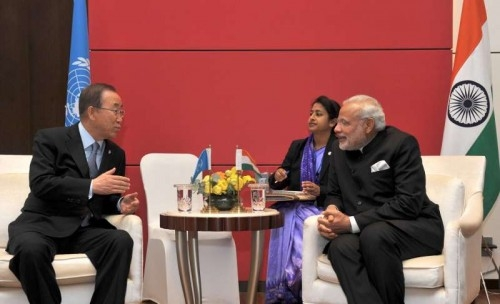 Prime Minister Narendra Modi meets the UN Secretary General Ban Ki-moon, in Seoul, South Korea on May 18, 2015.