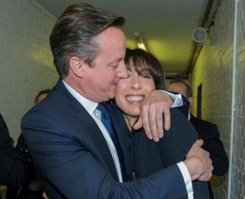 Prime minister David Cameron has a Obama moment with his wife Samantha after the results