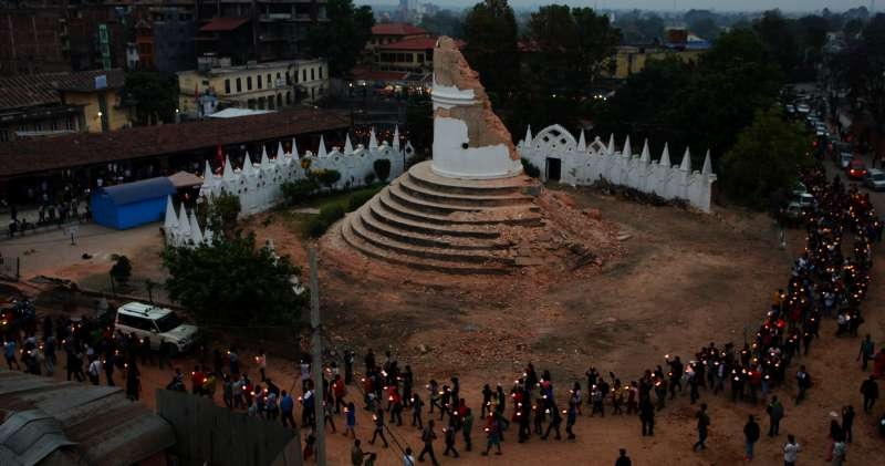 Nepalese  participate in a candlelight vigil for victims in earthquake in Kathmandu, Nepal