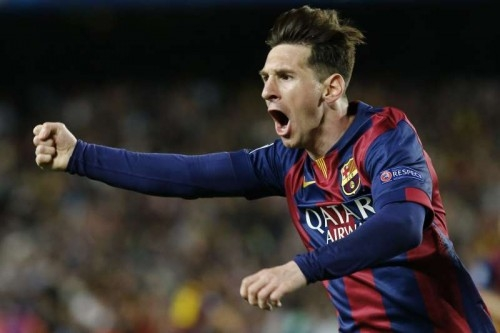 Barcelona's Argentine forward Lionel Messi celebrates after scoring during the first round match of semifinal against Bayern Munich at the 2014-2015 UEFA Champions League at Camp Nou Stadium in Barcelona, Spain, May 6, 2015.