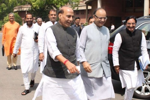 Union Finance Minister Arun Jaitley with Union Home Minister Rajnath Singh at Parliament House