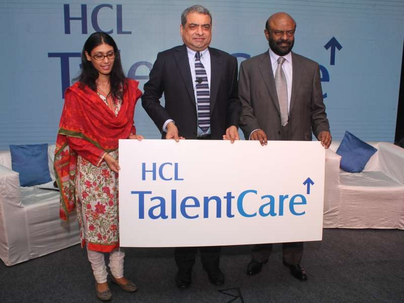 Roshni Nadar Malhotra, Executive Director and CEO of HCL Corporation, (left), Shiv Nadar, Founder, HCL, (right), with Prem Kumar S, Chief Mentor of HCL Talent Care (center) during the launch of integrated talent solution company, HCL Talent Care in New Delhi
