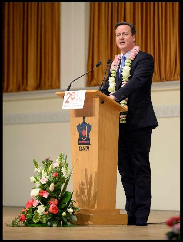 Prime Minister David Cameron at Neaden Temple in London
