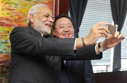 The Prime Minister, Shri Narendra Modi and the President of Mongolia, Mr. Tsakhiagiin Elbegdorj taking a selfie, in Mongolia on May 17, 2015.