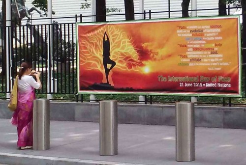 Banners announcing the International Day of Yoga are festooned at the United Nations headquarters in New York.