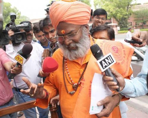 Sakshi Maharaj speaking to media.