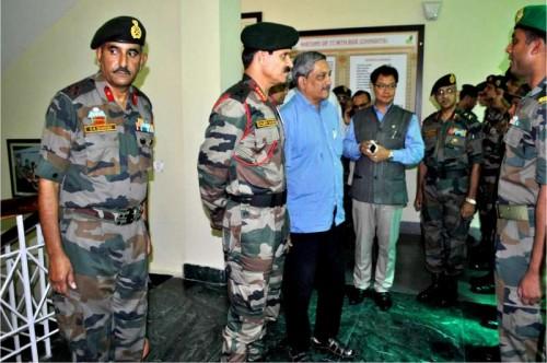 Union Defence Minister Manohar Parrikar visits an Army camp.