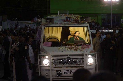 Tamil Nadu Chief Minister J Jayalalithaa during an election campaign in Chennai