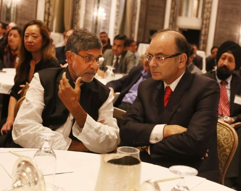 Union Minister for Finance, Corporate Affairs, and Information and Broadcasting Arun Jaitley and Nobel laureate Kailash Satyarthi at the Waldorf Astoria New York in US