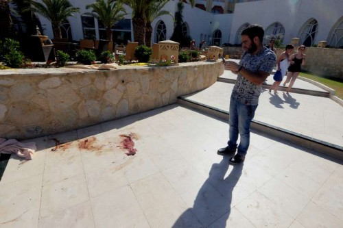 Blood is seen in the attacked hotel in Sousse, Tunisia, June 26, 2015. The victim toll grew to 37 killed, 36 injured including 3 in critical situation, in deadly hotel attack in Tunisia's Sousse
