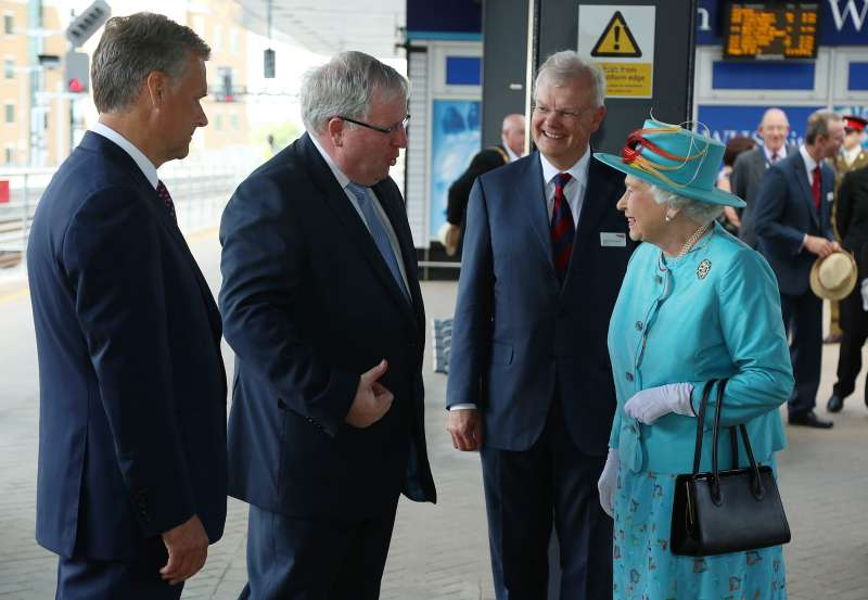 Patrick McLoughlin with Queen during the  opening of the redeveloped Reading rail station.  (File)
