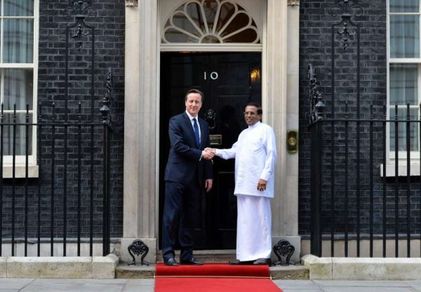British Prime Minister David Cameron  with Maithripala Sirisena the President of Sri Lanka to Downing Street (File)