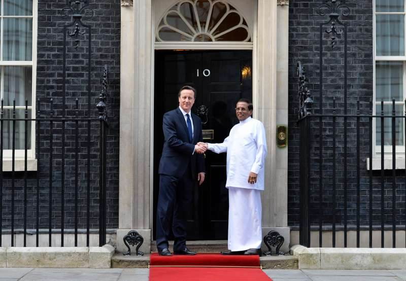 British Prime Minister David Cameron  with Maithripala Sirisena the President of Sri Lanka to Downing Street (File)