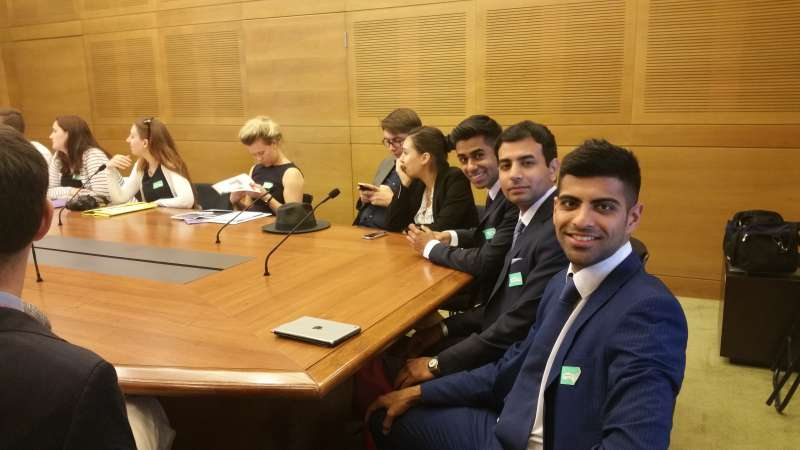 Pranav Bhanot and Ameet Jogia at a parliamentary meeting