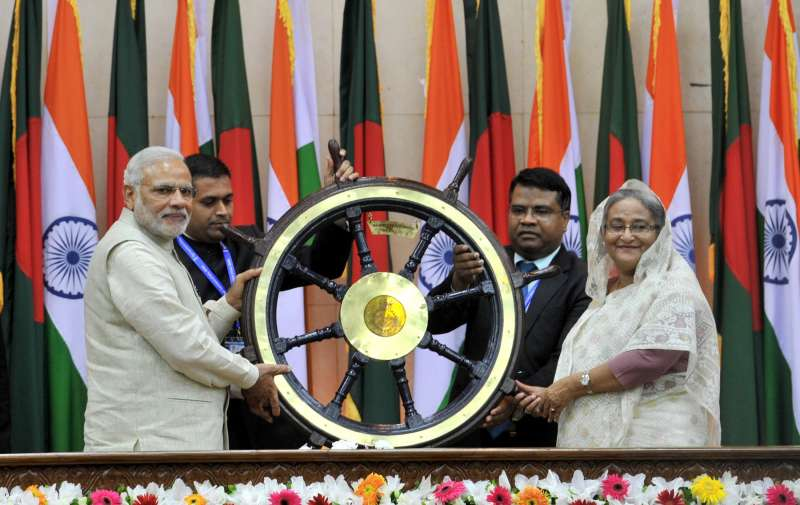 Main steering wheel of INS Vikrant handed over by the Prime Minister Narendra Modi to the Bangladesh Prime Minister Sheikh Hasina, in Dhaka, Bangladesh