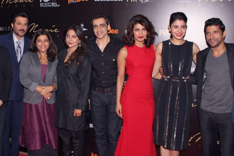 Actor Anil Kapoor, filmmaker Zoya Akhtar, actresses Shefali Shah, Priyanka Chopra, Anushka Sharma and actor Farhan Akhtar during the private screening of film `Dil Dhadakne Do` at PVR Director`s Cut, Ambience Mall, in New Delhi