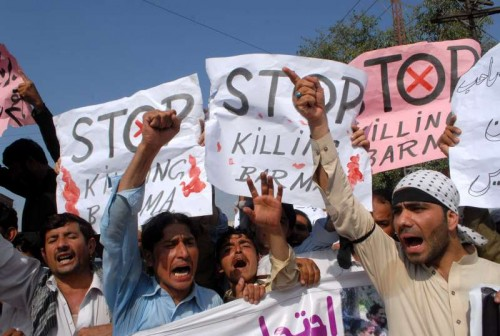 Pakistani demonstrators shout slogans during a protest in support of Rohingya Muslims in northwest Pakistan's Peshawa