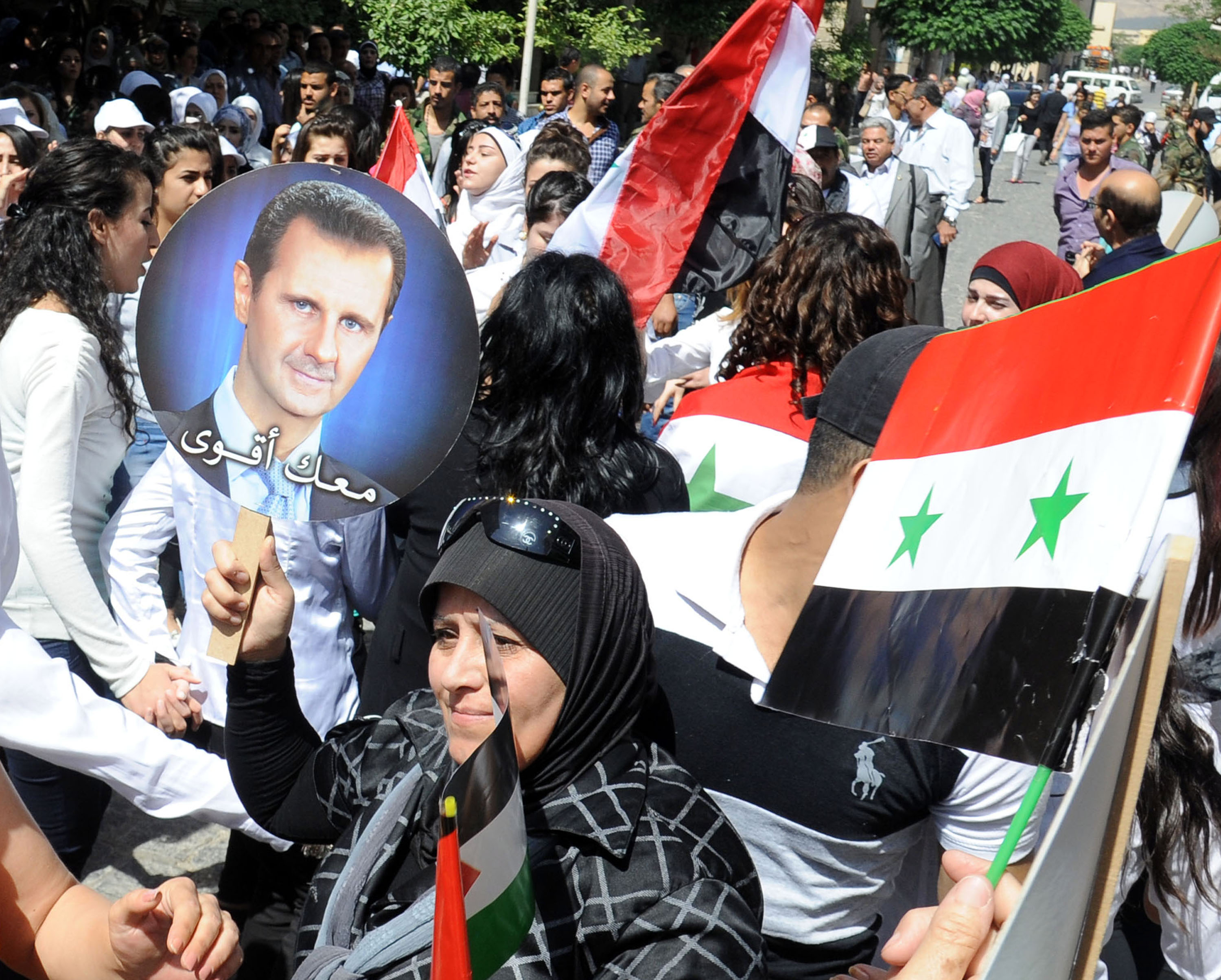 SYRIA-DAMASCUS-ASSAD-SUPPORTERS-RALLY